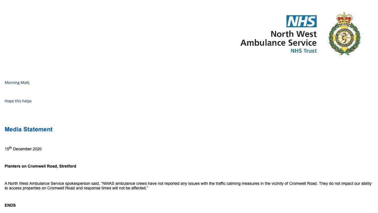 Response from the Ambulance service showing they are not affected by the LTN